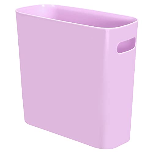 Youngever 1.5 Gallon Slim Trash Can, Plastic Garbage Container Bin, Small Trash Bin with Handles for Home Office, Living Room, Study Room, Kitchen, Bathroom (Purple)