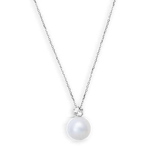 Xenox Pearl XG4305 - Collana da donna in vero oro bianco 9K, con perla da 8 mm e topazio
