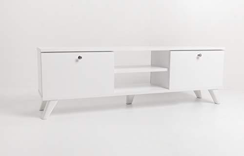 mimilos tvschrank, tv Schrank, Weiss, tv lowboard, 30 x 131 x 43 cm, fernsehtisch, fernsehschrank, tv Regal einfach zu reinigen, tv kommode, Wohnzimmer (Weiß)