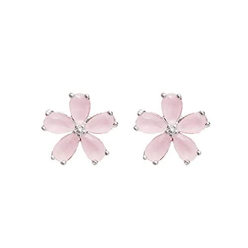 JJH Pendientes de Tachuelas de Flor de Cerezo, espárragos pequeños con Aguja de Plata esterlina, Regalo Dulce for Esposa, Hija, Mujeres, niñas (Color : Pink, tamaño : A Pair)