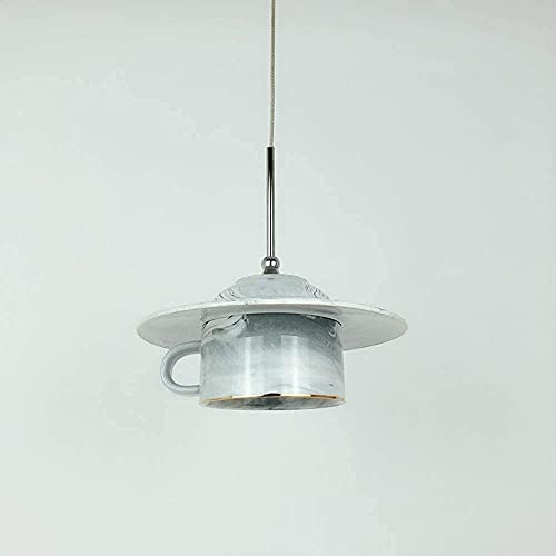 Dkdnjsk Nordic Kitchen Bedroom Restaurant Decoration Ceiling Lamp Creative Coffee Cup Chandelier Droplight Antique Marble Ceramics Teapot Tea Pendant Lights Fixtures (Color : Gray) (Color : Gray)
