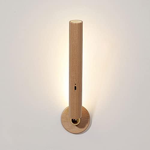 QTQZ Lámpara de pared cilíndrica de madera con atenuación continua táctil giratoria LED lámpara de pared dormitorio cabecera pared aplique salón bar restaurante pasillo iluminación