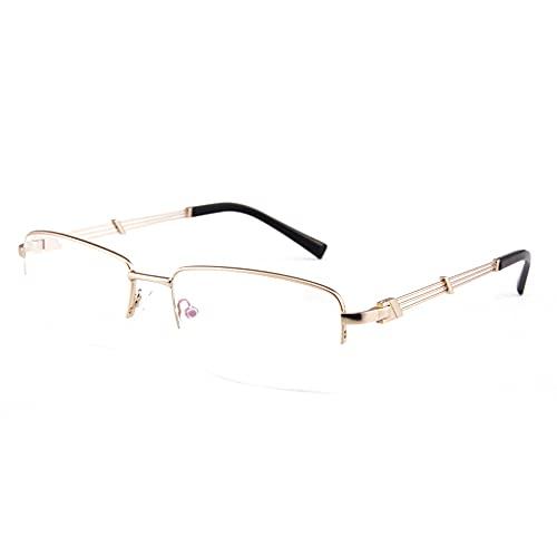 CAOXN Gafas De Lectura De Negocios Multifocales Progresivas para Hombres, Aleación De Medio Marco, Lente De Bloqueo De Luz Anti-Azul, Dioptría De Lupa De +1.0 A +3.0,Oro,+3.00