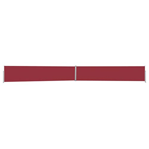 vidaXL Seitenmarkise Ausziehbar UV-beständig Sonnenschutz Sichtschutz Windschutz Seitenrollo Markise Balkon Garten Terrasse 170x1200cm Rot