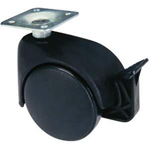 Schwarze Nylonrollen mit Drehplatte mit Bremse für Stühle und Sessel