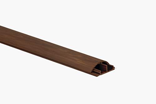KOMIB 2 x 1M Bodenkanal 30 x 10 mm/Fußboden Kabelbrücke/TV Kabelschacht/Selbstklebend/Fertig für die Montage (Braun - Holz Design)