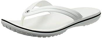 Crocs Men s and Women s Crocband Flip Flops | Adult Sandals White 7 Women / 5 Men