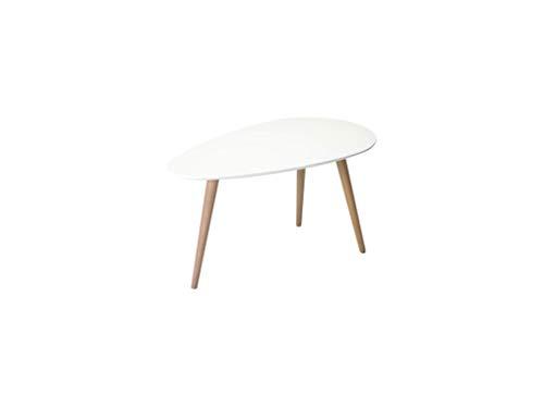Ibbe Design Oval Rund Weiss Couchtisch Modern Skandinavisch Retro Kaffeetisch Beistelltisch MDF Fly, Natur Massiv Buche Holz Beine, 75x43x39 cm