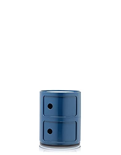 Kartell Componibili Contenitore 2 Elementi, Base Tonda, ABS, Blu, 32 x 32 x 40 cm