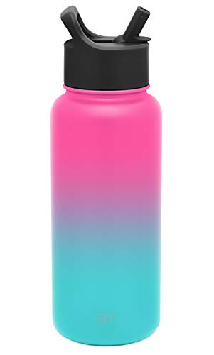 Simple Modern Insulated Water Bottle with Straw Lid 1 Liter Reusable Wide Mouth Stainless Steel Flask Thermos, 32oz, Ombre: Sorbet