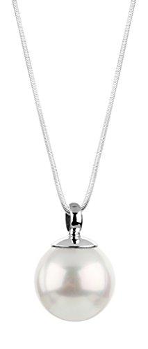 Nenalina Damen Halskette und Perlen-Anhänger mit weißer Muschelkernperle (14 mm), Kette mit Frauen Schmuck Anhänger Perle, 45 cm Damenkette 925 Sterling Silber, Brautschmuck, KAS-227