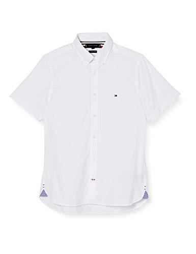 Tommy Hilfiger Herren Slim Fine Twill Shirt S/s Hemd, Weiß, XXX-Large