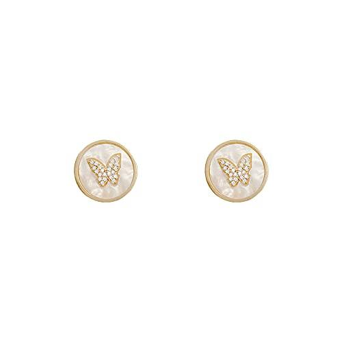 Butterfly Earrings for Women 14K Gold Earrings Fashion Cubic Zirconia Sterling Silver Minimalist Stud Earrings Hypoallergenic Drop Dangle Hoop Earrings for Girls Jewelry Gift