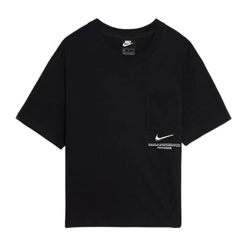 Nike W NSW SWSH SS Top T-Shirt, Black/(White), M Donna