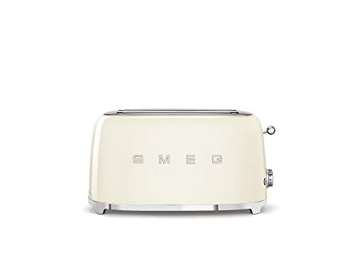 Smeg TSF02CRUK 50's Retro Style 4 Slice Toaster, Extra-Wide Bread Slots, 6 Browning Levels, Reheat and Defrost Functions, Removable Crumb Tray, Anti-Slip Feet, 1500 W, Cream