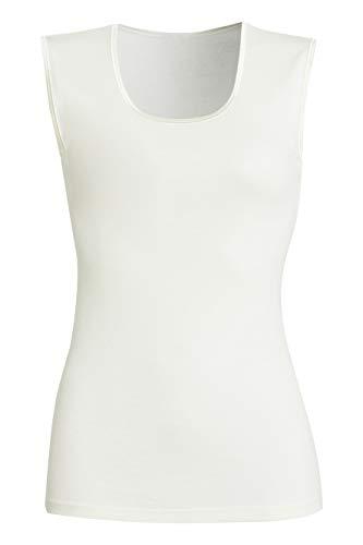 con-ta Achselhemd, klassisches Unterhemd für Damen, weiche Unterwäsche, bequemes Top aus Wolle und Modal, Trägertop in Wollweiß, Größe: 46