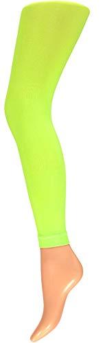 krautwear Damen Mädchen Leggins Leggings60 den Karneval Fasching Kostüm schwarz rot rosa blau (gelb-SM)