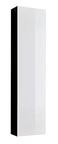 muebles bonitos Mobile pensile sospeso Moderno Modello Amalfi Nero Bianco, Anta Lucida - Larghezza:...