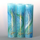 Candela Lotus-Kerze Aquarell Türkis Töne 28 cm