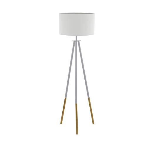 EGLO 49156 Lampe sur pied, Bois, 60 W, Braun, Weiss
