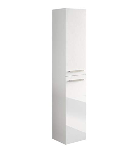 PEGANE Colonne Salle de Bain Suspendue avec 2 Portes Coloris Blanc laqué - 150 x 30 x 25 cm