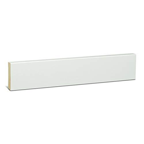 KGM Holzleiste weiß lackiert 58mm | Modern Fussbodenleiste weiss ✓natürliches Kiefer Massivholz ✓für Parkett & Laminat ✓3x lackiert weiss |gerade Holzleisten 16x58x2400mm