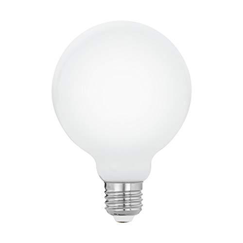 EGLO LED E27 Lampe, Glühbirne Globe Milky, LED Lampe, 8 Watt (entspricht 75 Watt), 1055 Lumen, E27 LED warmweiß, 2700 Kelvin, LED Leuchtmittel, Glühlampe G95, Ø 9,5 cm