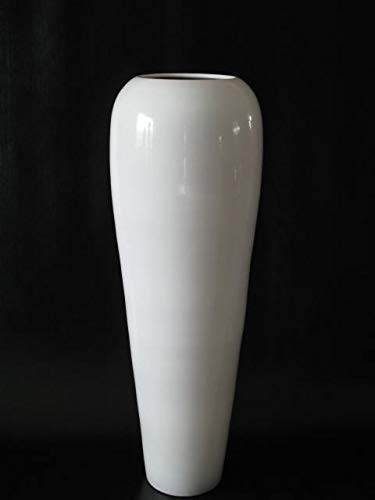 POLONIO - Jarrón de Ceramica Blanco de 95 Centímetros - Jarrones Grandes...