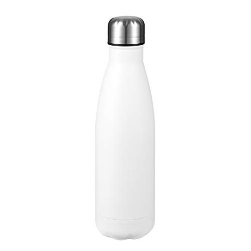 17 oz Stainless Steel Water Bottle, Double Walled Vacuum Insulated Double Walled Cola Shape Thermoses, Reusable Leak-Proof Sports Bottles - White, 1 Pack