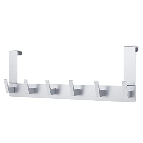 Dohomai Türhaken Zum Einhängen, Türgarderobe mit 6 Haken - Kleiderhaken Tür für Badezimmer Türhakenleiste Moderne Türhänger - Handtuchhalter Tür Bad - Jackenhalter Tür | Einzigartigem Haken Design