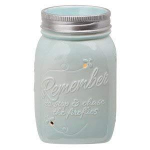 Scentsy Warmer, Chasing Fireflies, Mason Jar Light Blue Firefly Full-size Premium Warmer