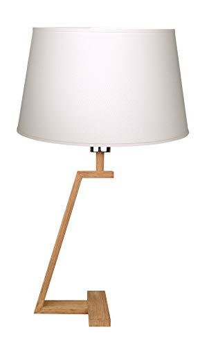 Aluminium MEMPHIS LT B staande lamp, natuurlijk hout + lampenkap, ivoorkleurig