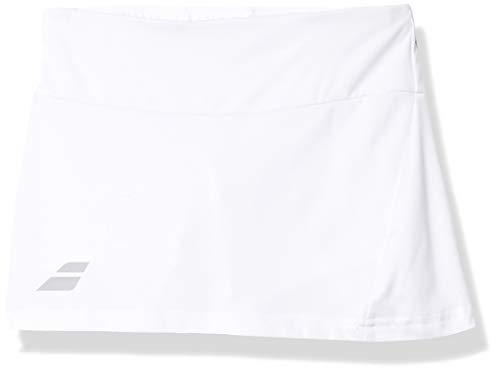 Babolat Girl's Play Tennis Skirt with Built in Shorties, White/White (US Youth Size 8-10)