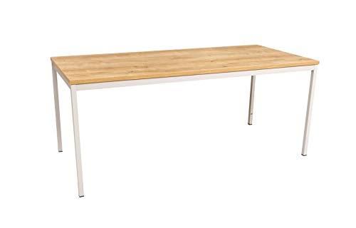 Furni24 Rechteckiger Universaltisch mit laminierter Platte, Metallgestell und verstellbaren Füßen, ideal im Homeoffice als Schreibtisch,...