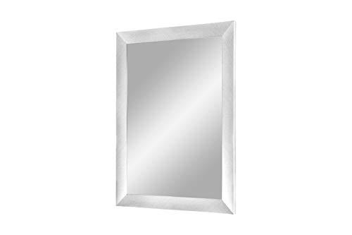 Flex 35 - Wandspiegel 30x50 cm mit Rahmen (Alu gebürstet), Spiegel nach Maß mit 35 mm breiter MDF-Holzleiste - Maßgefertigter Spiegelrahmen inkl. Spiegel und Stabiler Rückwand mit Aufhängern