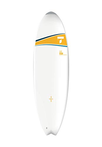 TAHE 5'10 Fish Dura-Tec Performance Surfboard, Yellow