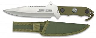 Albainox - 32104 - Cuchillo Modelo Horizon. Satin. Hoja: 18 - Mango ABS Verde. Funda de Nylon. Herramienta para Caza, Pesca, Camping, Outdoor, Supervivencia y Bushcraft