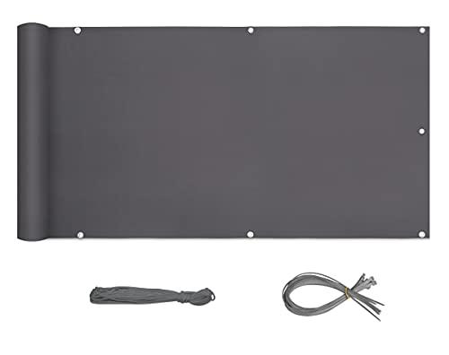 Sekey Brise-Vue pour Balcon Couverture de confidentialité Écran Polyster Vent Protection UV Opaque Résistant aux Intempéries 90 x 600cm, avec Attaches de câble et Cordons, Anthracite