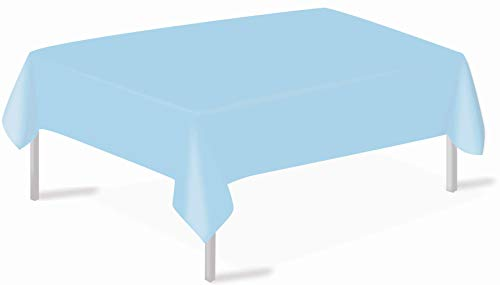 Light Blue Plastic Tablecloths 3 Pack Disposable Table Covers 54 x 108 Inch Shower Party Tablecovers PEVA Vinyl Table Cloths for Rectangle Tables up to 8 ft and Picnic BBQ Birthday Wedding Banquet
