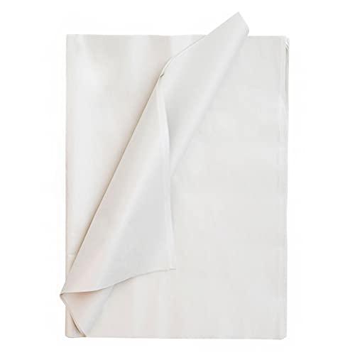 AUOVKOCA Seidenpapier, 100 Blatt Metallisches Weiß Seidenpapier Geschenkpapier für Heimarbeit Bastelarbeit Geschenkverpackung, DIY, 50 x 35 cm