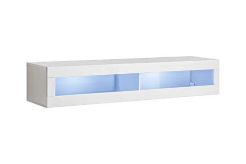 MEBLE FURNITURE & RUGS Fly Modular Wall Mounted Floating Hanging Media Cabinet (Type-51) (White)