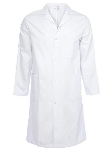 Highliving Unisex Labormantel Labormantel Lagermantel Arztmantel Lebensmittelmantel (mittlere Brustgröße 40-42) Weiß
