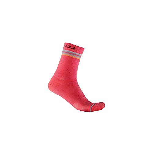 castelli GO W 15 Sock Calcetines, Mujer, Rosa Brillante/Burdeos Azul Claro, S/M
