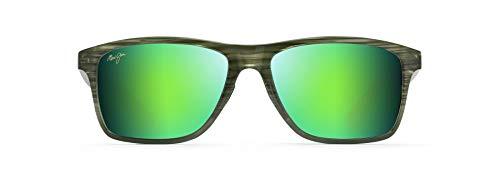 Maui Jim Men's Onshore with Patented PolarizedPlus2 Lenses Polarized Rectangular Sunglasses, Olive Stripe Fade/Green Mirror Polarized, Large