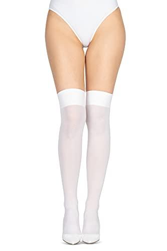 LORES Calcetines altos de microfibra opacos para mujer, por encima de la rodilla y muslo, calcetines largos y cálidos para niña de cosplay 60 DEN [Made in Italy], blanco, talla única