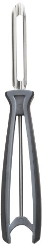 Linden Sweden Fruit and Vegetable Peeler – Made In Sweden- Great for Apples, Carrots and Potatoes - Soft-Grip Handle for Comfort and Safety - Dishwasher Safe - Stainless Steel Construction (Gray)