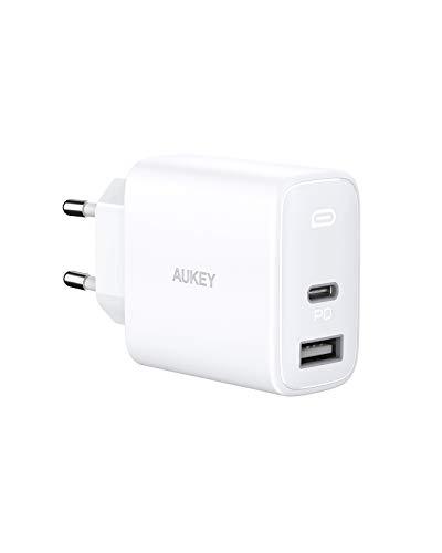 AUKEY Cargador USB C 32W PD Cargador para iPhone 12 Ultra Compacto 2 Puertos con GAN Power Tech, Cargador PD para iPad Pro, iPhone Se, iPhone 11 Pro MAX, AirPods Pro, Google Pixel (White)