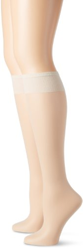 Hanes Silk Reflections Women's Plus-Size 2 Pack Knee High, Pearl, One Size