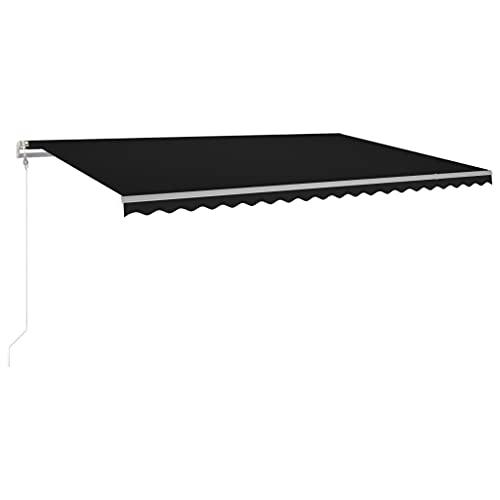 vidaXL Markise Automatisch mit LED Windsensor Gelenkarmmarkise Sonnenmarkise Balkonmarkise Sonnenschutz Sichtschutz Terrasse Garten 500x300cm Anthrazit