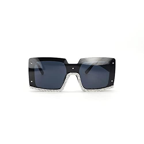 JINZUN Gafas de Sol cuadradas Personalizadas con Montura Grande, Gafas Anti-UV de Moda para Disparar en la Calle, Gafas de Sol con Diamantes Salvajes